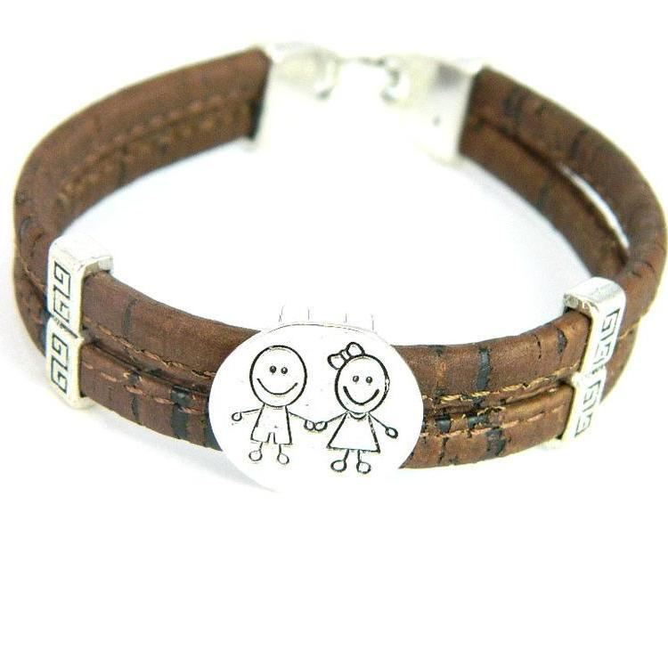 Organic Natural Wooden Cork Boy Girl Family Children Kids Bracelets Jewelry Mom Brown