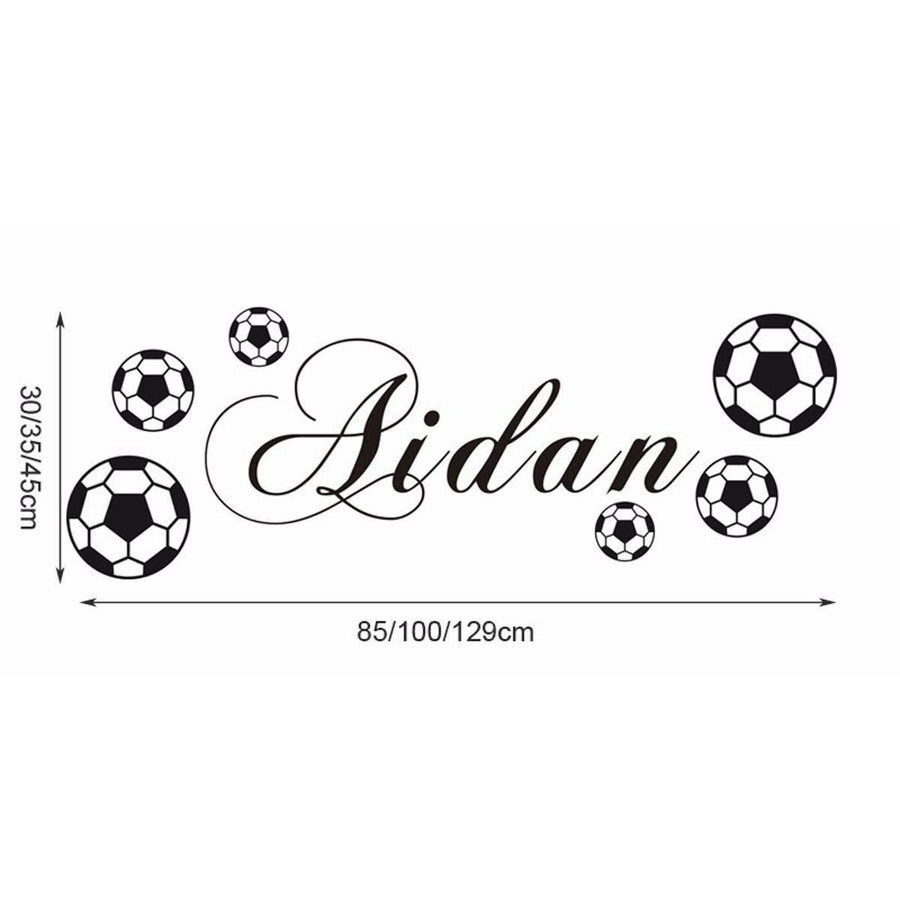 Personalized Name FOOTBALL Decals Vinyl Wall Sticker Art Sports Boys Footballer Poster Kids Room Wall Stickers Home Decoration Sports Wall Sticker personalized-name-football-decals-vinyl-wall-sticker-art-sports-boys-footballer-poster-kids-room-wall-stickers-home-decoration black / Medium Size 35x100cm