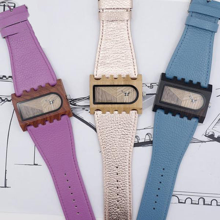 Modern Wooden Leather Women Wristwatch