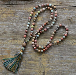 Handmade Natural Stones Pyrite Tassel Mala Necklace