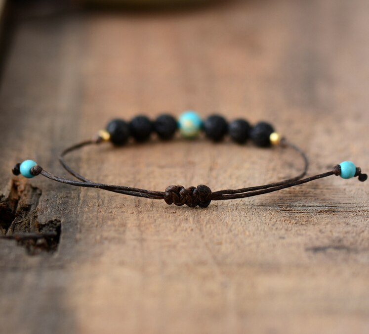 Simple Handmade Natural Lava Stone Bracelet