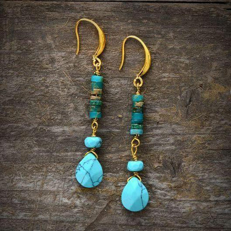 Turquoise Natural Stones Teardrop Earrings Bohemian Jewelry