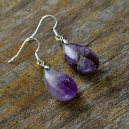 Purple Quartz Dangle Earrings-Spirylife