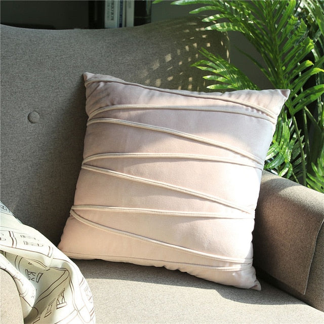 Soft  Luxury Velvet Striped Cushion Covers Solid Throw Pillowcases