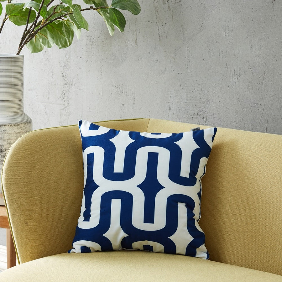 Navy Blue White Geometric Decorative Throw Pillow Covers