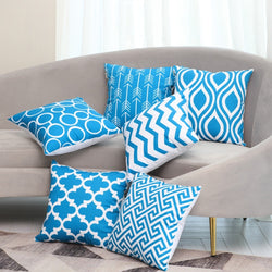 Aqua Blue Modern Geometric Soft Cushion Covers