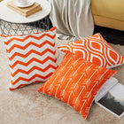 Orange White Modern Geometric Soft Decorative Cushion Covers