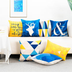 Blue Yellow Geometric Modern Nordic Cushion Covers