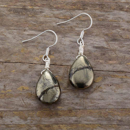 Pyrite Teardrop Women Earrings-Spirylife