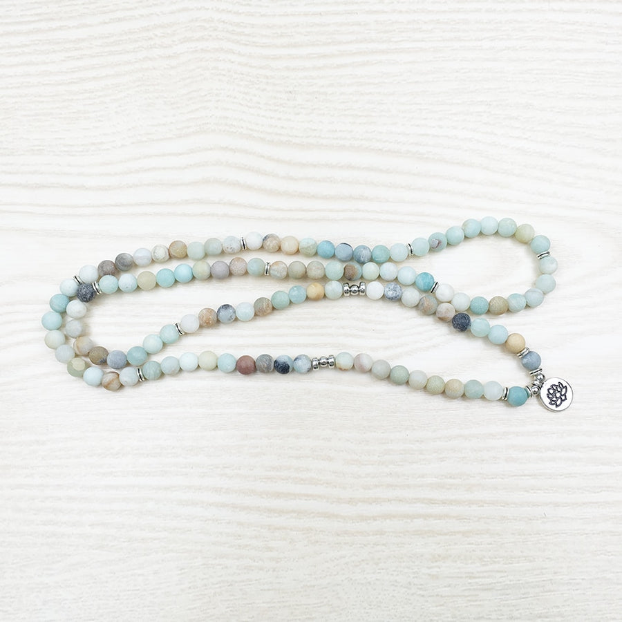 Frosted Amazonite 108 Prayer Beads Mala Bracelet