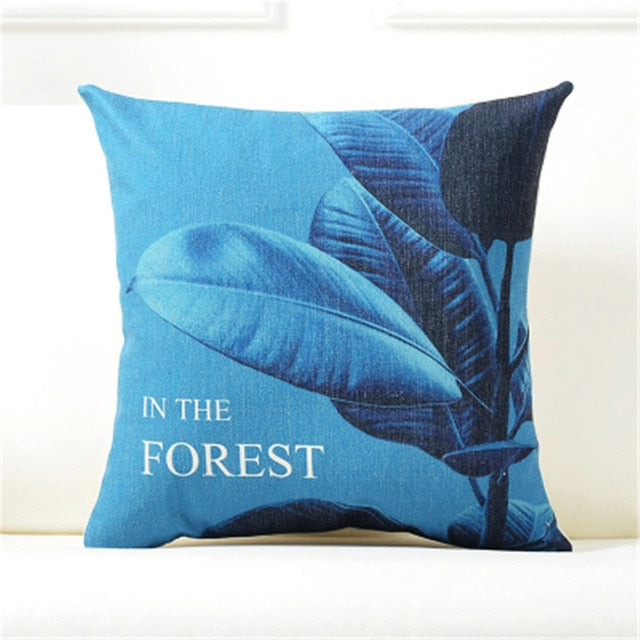 Nordic Blue Plant Botanical Throw Pillow Cushion Covers
