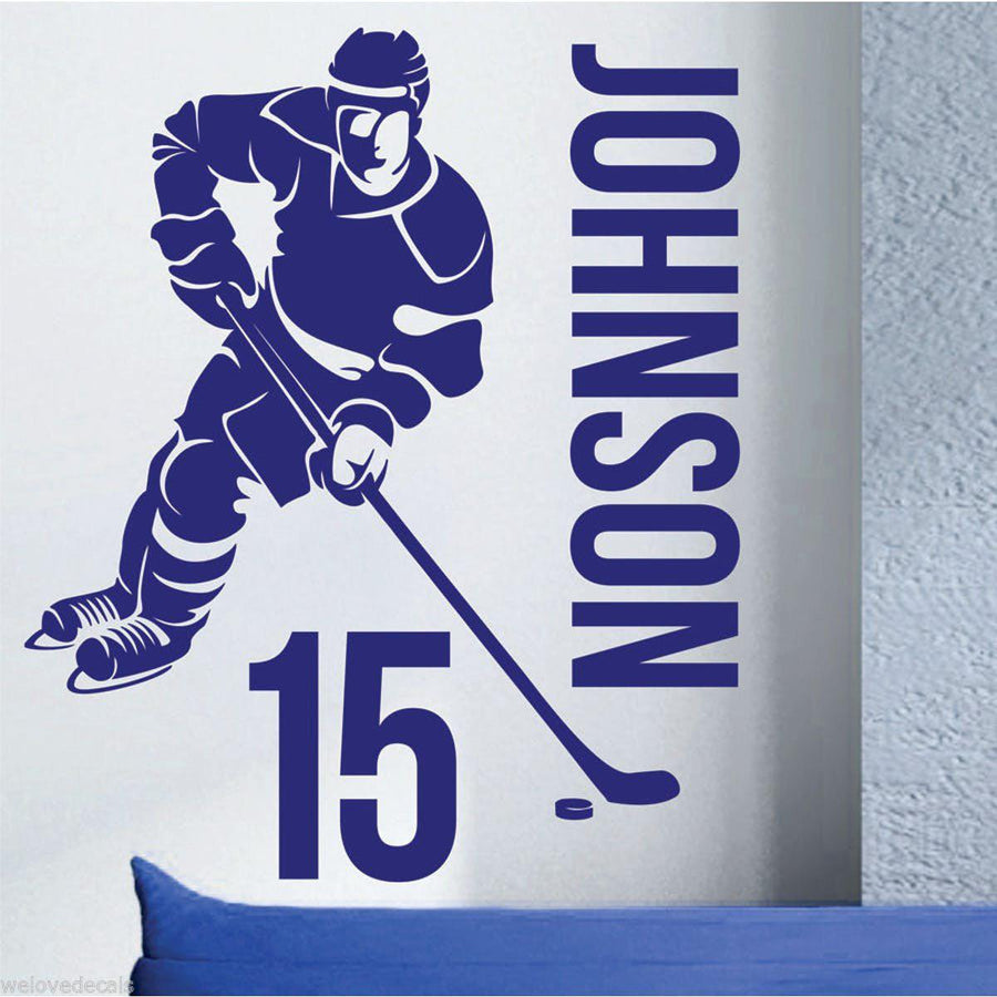 Hockey Wall Decal Large Decal Custom Name Decal Boys: Removable Custom Name & Number HOCKEY PLAYER Vinyl Wall