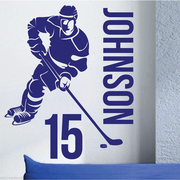 Personalized Hockey Towels: Removable Custom Name & Number HOCKEY PLAYER Vinyl Wall