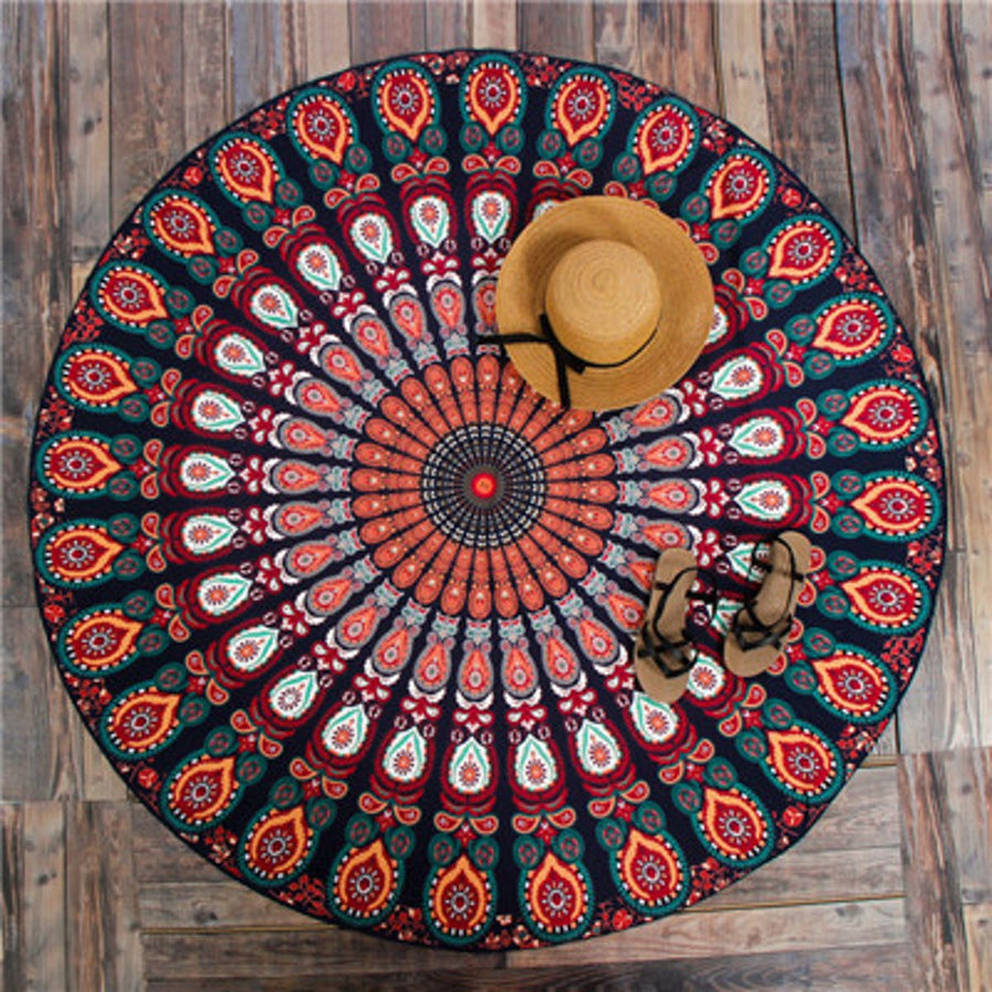 Round Hippie Mandala Peacock Flower Indian Tapestry Tapestrie