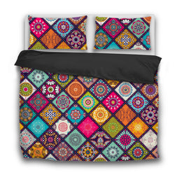 Square Mandala Bedding Set Boho Chic Bedroom Duvet Cover 3Pcs Pillow Us Twin Sets
