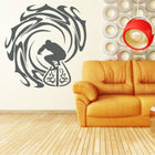 Surfer and Waves Wall Sticker sports Wall Sticker art-vinyl-wall-decalsuffer-and-waves-home-decor-vinyl-wall-art-sticker-decal-surfing-sea-sport-ocean-wall-sticker-mural-m-172 Black / Large