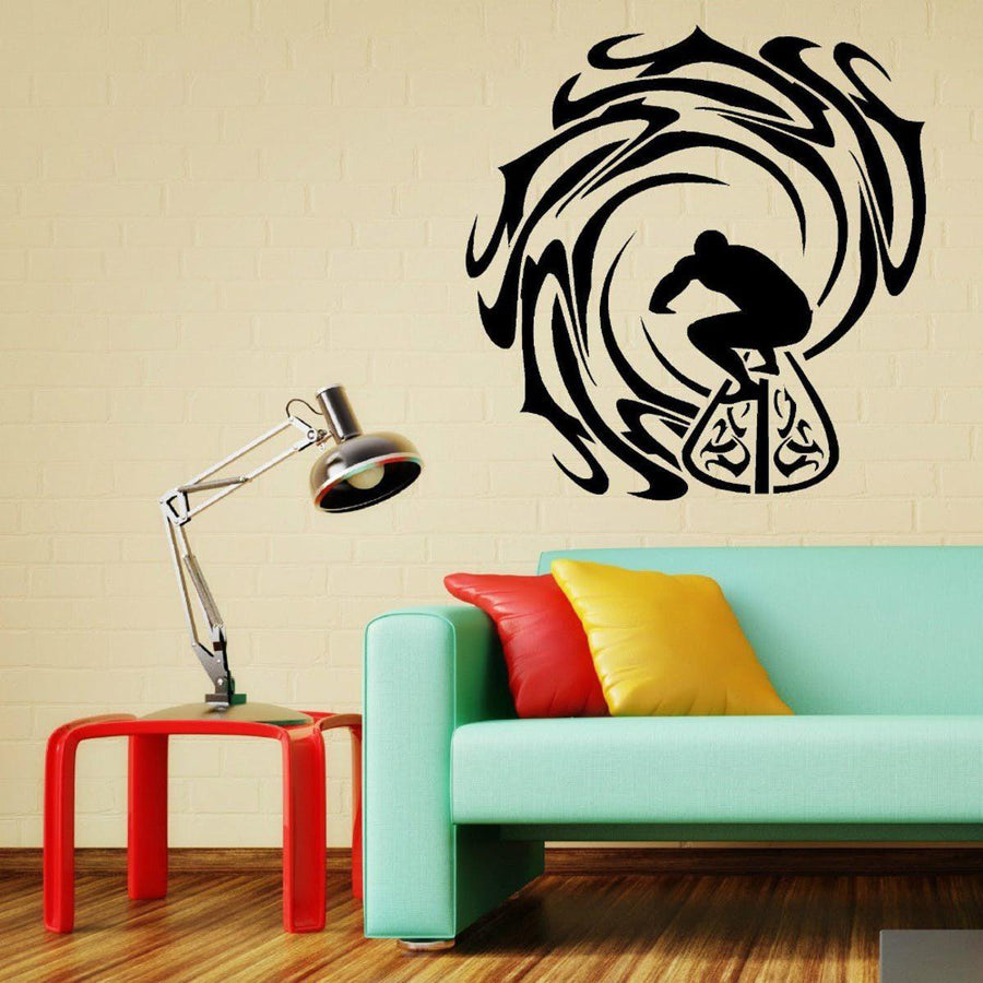 Surfer And Waves Wall Sticker Vinyl Decal Home Decor Wall Art