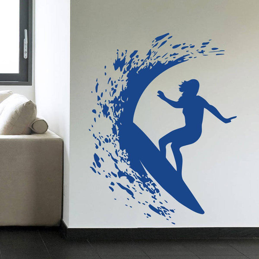 Surfer Girl Wall Sticker sports Wall Sticker surfer-girl-woman-surfing-removable-wall-decal-art-mural-sport-home-decor-wall-sticker Default Title