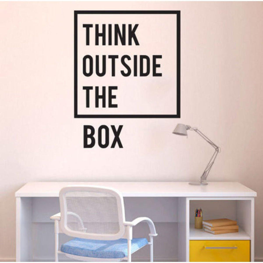 Think Outside Wall Sticker Quotes Wall Sticker inspirational-motivational-quotes-office-wall-decal-art-decor-wall-stickers-home-decor-living-room-vinilos-paredes-mural black / 60X77cm