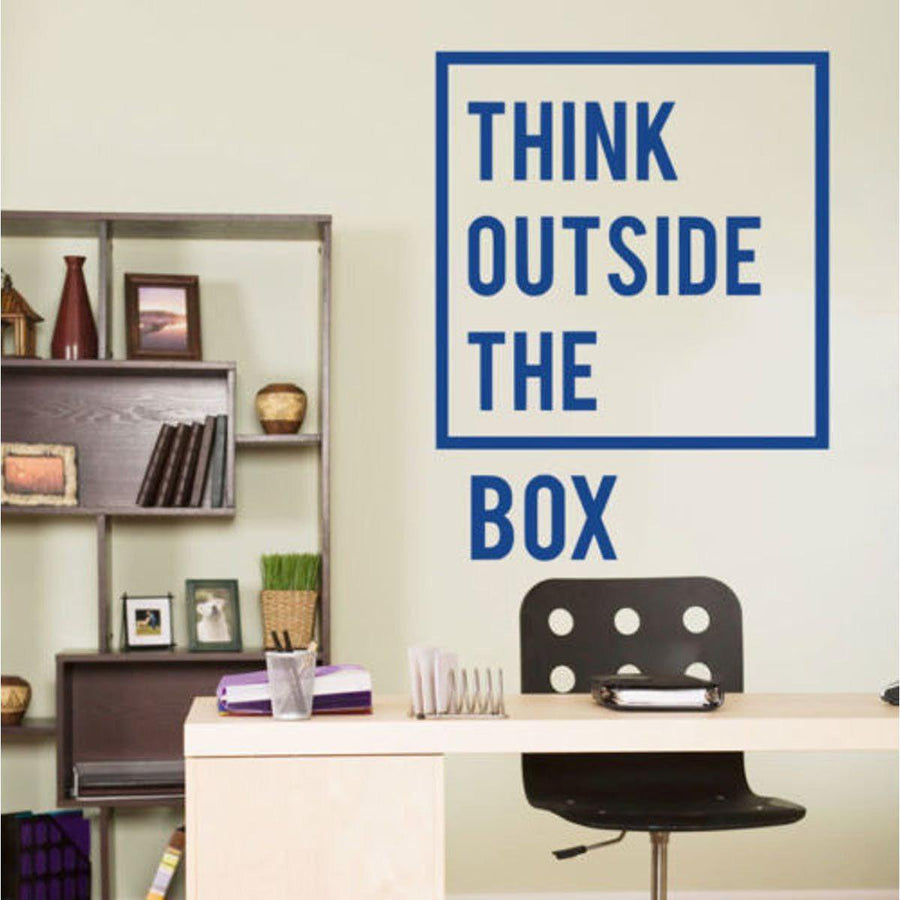 Think Outside Wall Sticker Quotes Wall Sticker inspirational-motivational-quotes-office-wall-decal-art-decor-wall-stickers-home-decor-living-room-vinilos-paredes-mural blue / 60X77cm