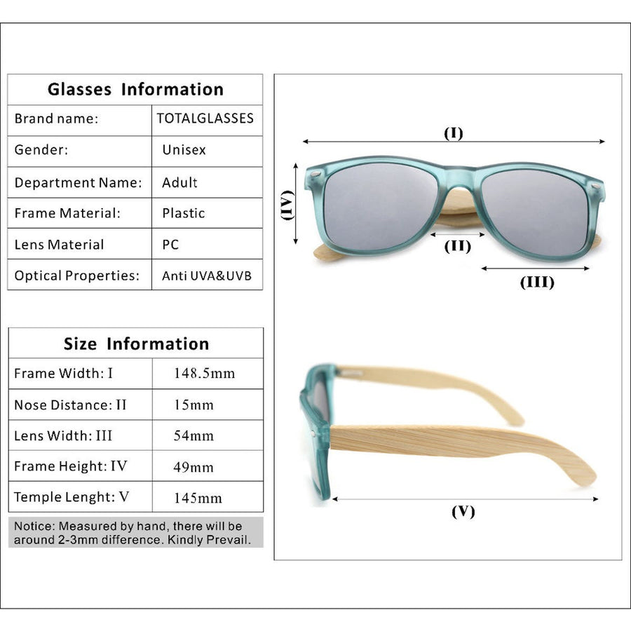 Transparent Clear Color Wood Bamboo Polarized Sunglasses With Wood Box Men, Women sunglasses