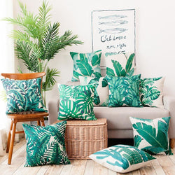 Tropical Green Leaf Cushion Covers Pillowcase Sofa Couch Decoration Cover