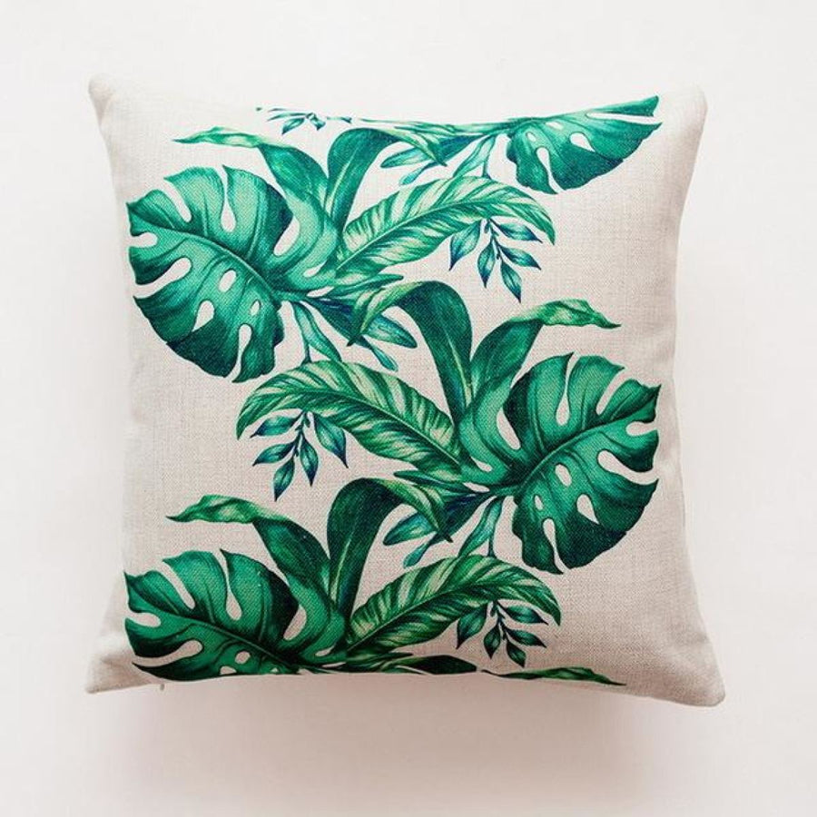 Tropical Green Leaf Cushion Covers Pillowcase Sofa Couch Decoration 2 Cover