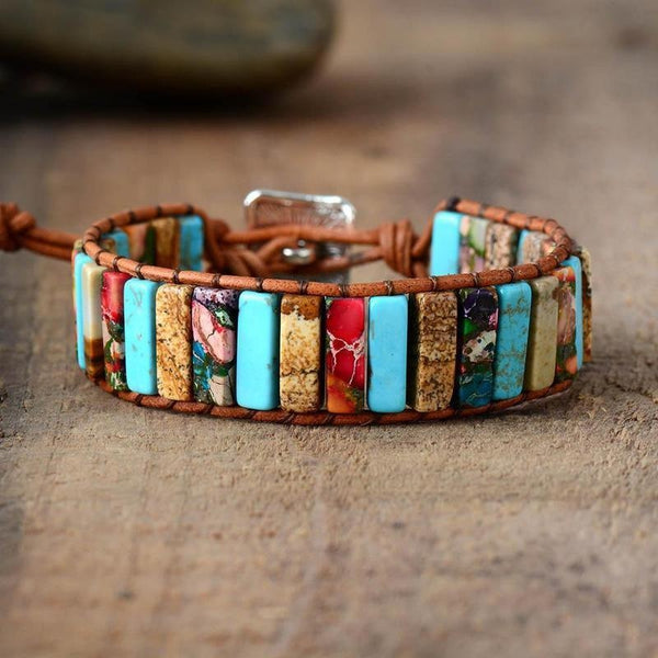 Turquoise Mix Natural Stone Handmade Leather Bracelet-Spirylife