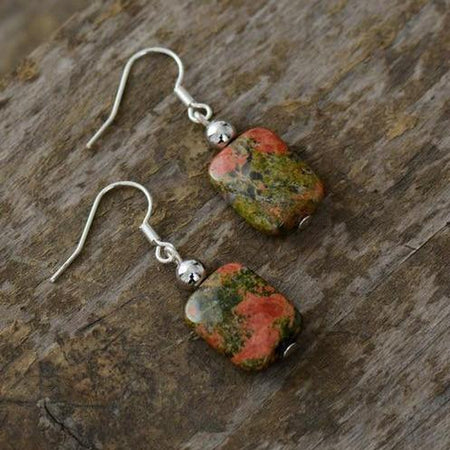 Unakite & Black Onyx Earrings-Spirylife