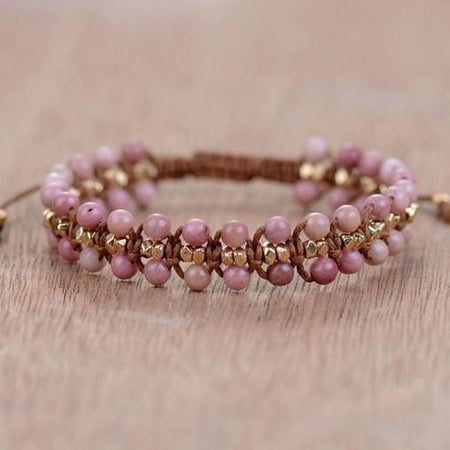 Unique Handmade Rhodonite Natural Stone Bracelet-Spirylife
