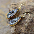 Unique Natural Druzy Dangle Earrings Women Jewelry Gold