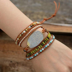 Vintage Bohemian Boho Gypsy Leather Natural Stones 5 Strands Wrap Bracelet Bracelets