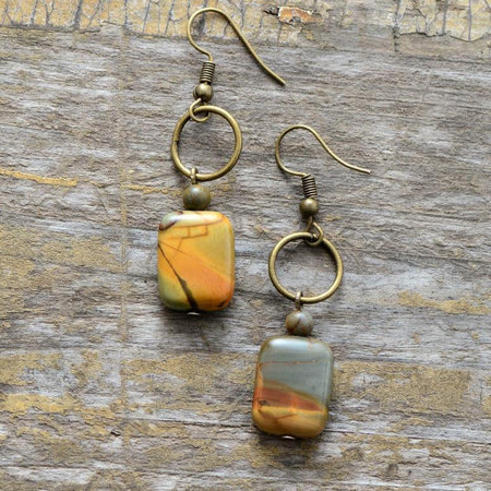 Vintage Copper Natural Stone Jasper Dangle Earrings-Spirylife
