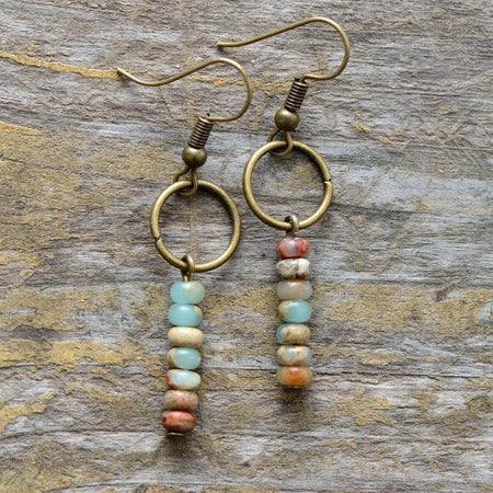 Vintage Natural Stone Jasper Dangle Earrings-Spirylife