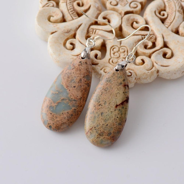 Vintage Natural Stone Oval Pendant Earrings-Spirylife