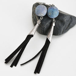 Vintage Natural Stone Drop Earrings Antique Silver Black Suede Tassel Earrings Jewelry Party Gift Earrings