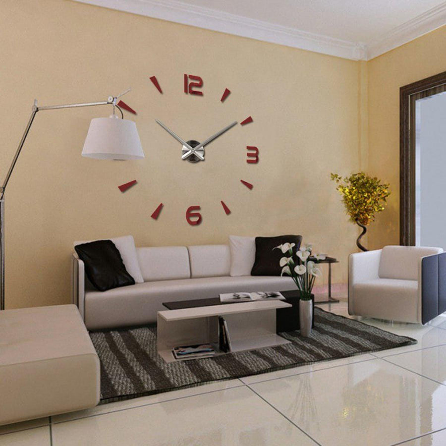 Wall Clock Sticker Clocks Wall Sticker wall-clock-modern-sticker Red