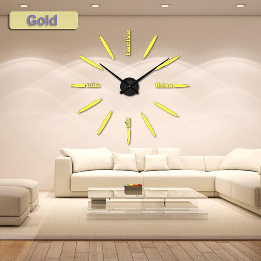 Wall Clock Sticker Clocks Wall Sticker wall-clock-sticker-1 gold / 47 inch