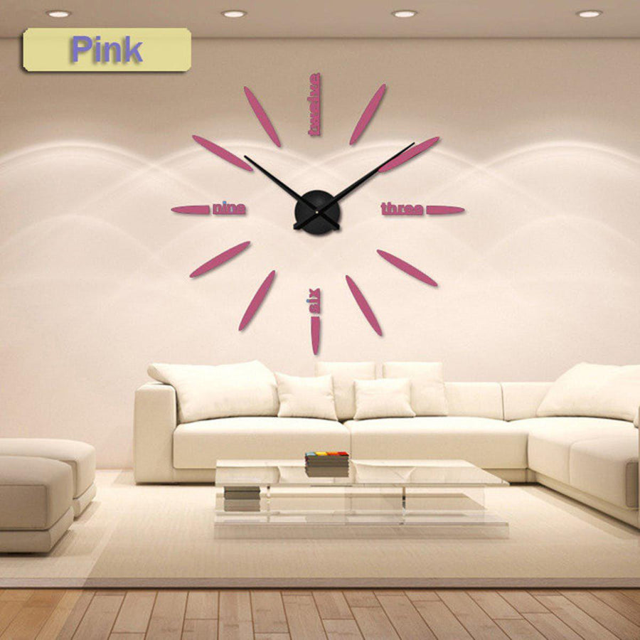 Wall Clock Sticker Clocks Wall Sticker wall-clock-sticker-1 pink / 47 inch