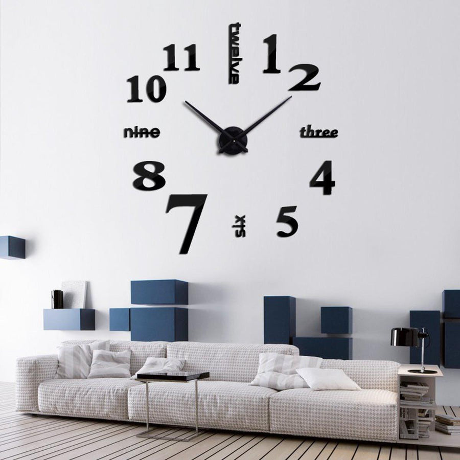 Wall Clock Sticker Clocks Wall Sticker wall-clock-sticker-4 Black