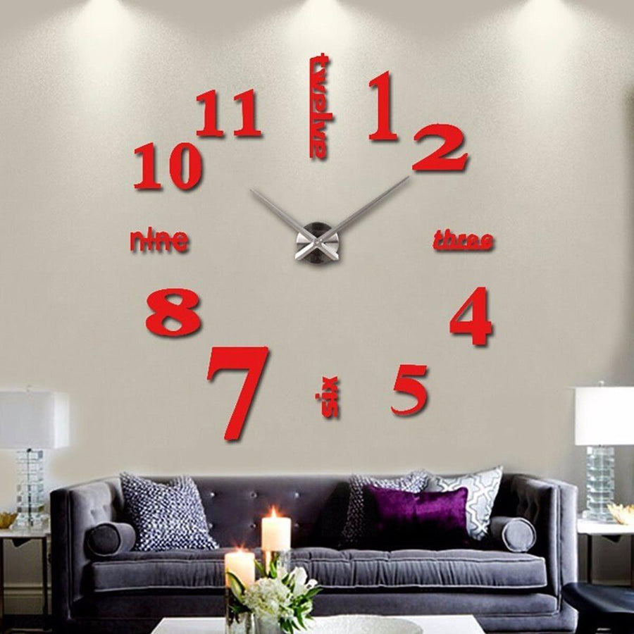 Wall Clock Sticker Clocks Wall Sticker wall-clock-sticker-4 Red