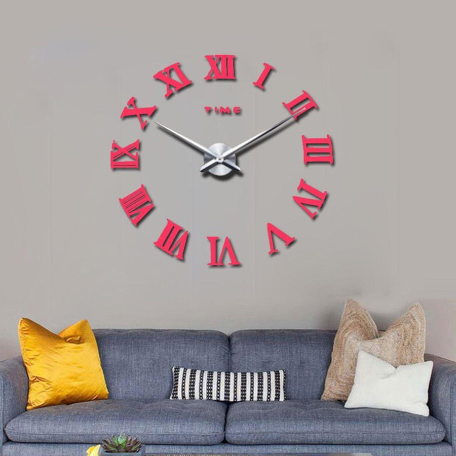 Wall Clock Sticker Clocks Wall Sticker wall-clock-sticker-5 Pink