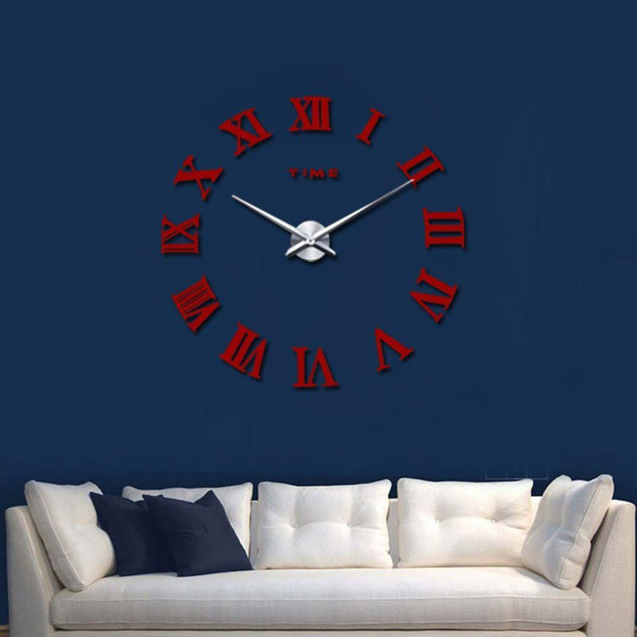 Wall Clock Sticker Clocks Wall Sticker wall-clock-sticker-5 Red