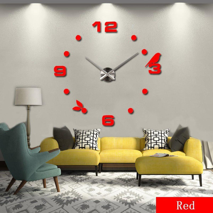 Wall Clock Sticker Clocks Wall Sticker wall-clock-sticker-7 Red