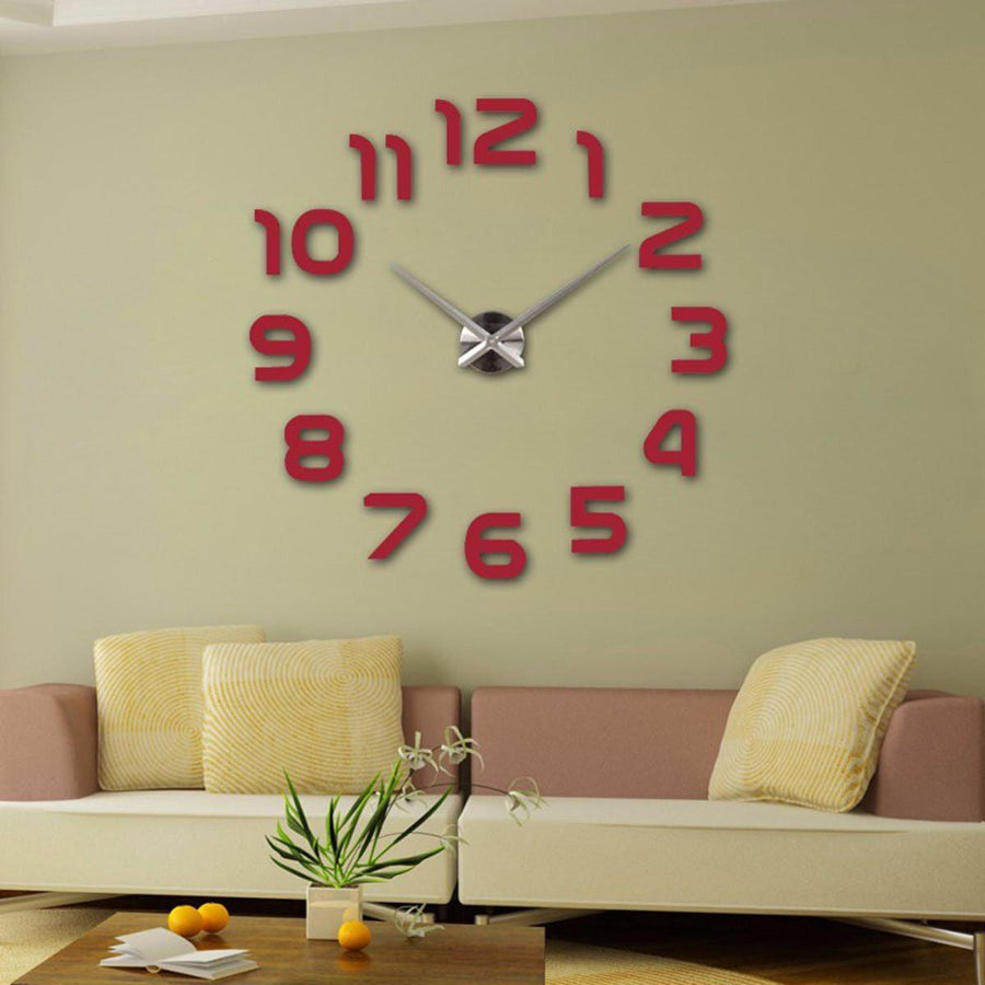 Wall Clock Sticker Clocks Wall Sticker wall-clocks-sticker Red