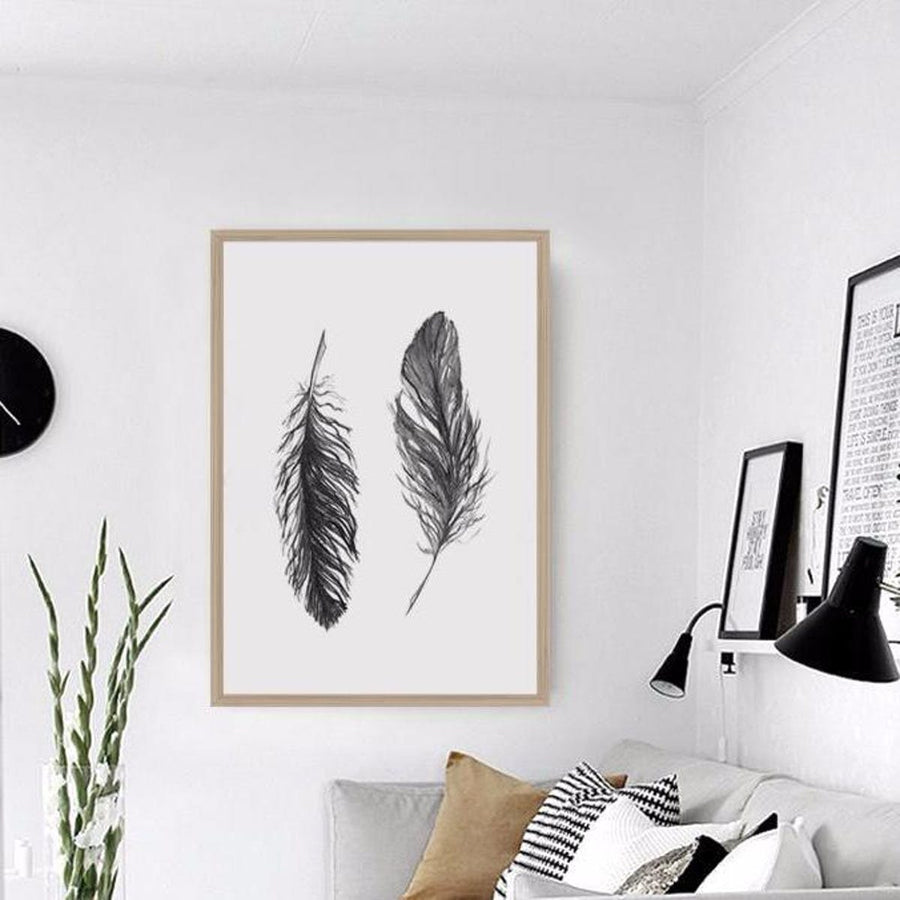 Watercolor Black Feather Canvas Art Print Tribal Wall Art