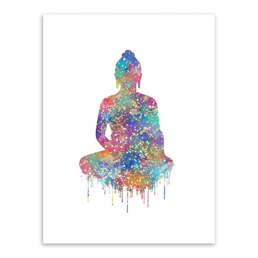 Watercolor Buddha Art Chakra Hand Yoga Spa Meditation Art Wall Art