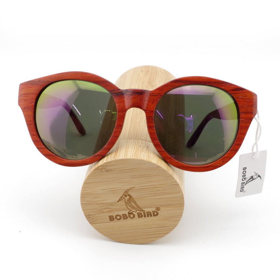 Women's Sunglasses Red Wood Polarized Sunglasses for Ladies With Bamboo Box Women