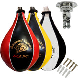 Rix Pro Leather Speedball & Swivel Boxing Punch Bag Punching Training MMA Speed Ball - Combatek