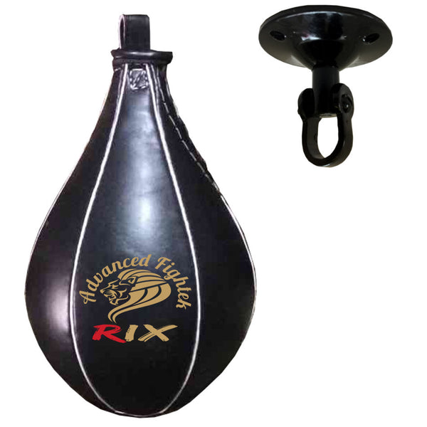 Rix Elite Leather Speedball & Swivel Boxing Punch Bag Punching Training MMA Speed Ball - Comback